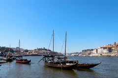 Wine transport boats in Portugal. Stock Photo