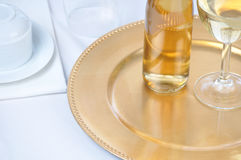 Wine on Tray with Table Setting Royalty Free Stock Photos