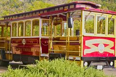 Wine trolley Sonoma California. Red and gold wine trolley transports wine tasters in Sonomas wine country Stock Photo