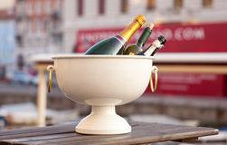 Wine in a tub with ice Royalty Free Stock Photography