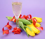 Wine and tulips Stock Photos
