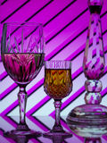 Wine for two on colorful striped background Royalty Free Stock Photo