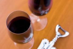 Wine. Two glasses of wine in a table Stock Photography