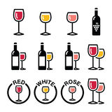 Wine types - red, white, rose icons set Royalty Free Stock Photography