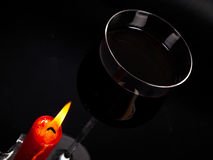Wine under candlelight Stock Photos