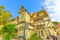 Wine Valley Inn Solvang. Solvang, California, United States - August 10, 2018: Wine Valley Inn hotel in main street of Solvang downtown wine country of Santa stock images