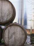 Wine vats and tanks to ferment the grapes Stock Photos