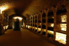 Wine-vault. Wine bottle in the wine-vault stock photos