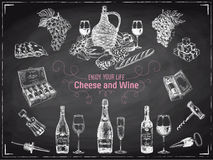 Wine Vector hand drawn illustration Stock Photo