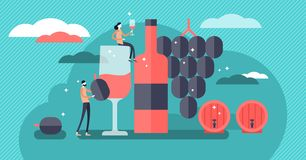 Wine vector illustration. Mini persons drinking alcoholic beverage concept. Collection with bottle, glass, grapes and barrels. Elegant champagne tasting royalty free illustration
