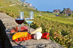 Wine and vegetables Stock Photo