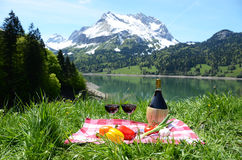 Wine and vegetables served at a picnic in Alpine meadow. Switzer Stock Images