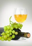 Wine in vetro con l'uva e la bottiglia su grey Fotografia Stock