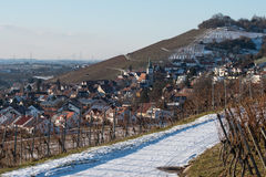 Wine village Grunbach mit church in winter Stock Photo