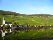 Wine village at the Moselle. Wine village Alt-Piesport at the Moselle in Germany Stock Images