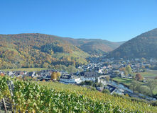 Wine Village of Rech,Ahr,Rhineland-Palatinate,Germany. View from famous Red Wine Hiking Trail in Ahr Valley to Wine Village of Rech near Bad Neuenahr,Rhineland royalty free stock photography