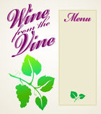 Wine from the Vine Menu Royalty Free Stock Image