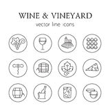 Wine and vineyard line icons Royalty Free Stock Photos
