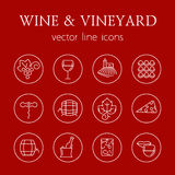 Wine and vineyard line icons Stock Image