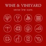 Wine and vineyard line icons Stock Image