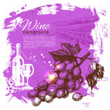 Wine vintage background. Hand drawn illustration Stock Photography
