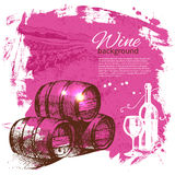 Wine vintage background. Hand drawn illustration Royalty Free Stock Photo