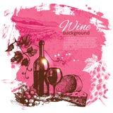 Wine vintage background. Hand drawn illustration. Splash blob retro design Royalty Free Stock Image