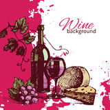 Wine vintage background. Hand drawn illustration Stock Images