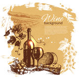 Wine vintage background. Hand drawn illustration Royalty Free Stock Photography