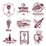 Wine Vintage Badge Set. Isolated wine vintage badge set with finest wine wide choice premium wine wine house descriptions vector illustration Stock Photos