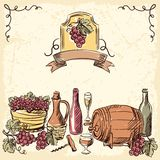 Wine vintage hand drawn illustration Royalty Free Stock Photo
