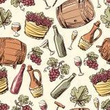 Wine vintage hand drawn seamless pattern Stock Photo