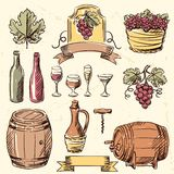 Wine vintage hand drawn set Stock Photos