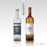 Wine and Vodka bottles isolated on transparent background. Vector 3d detailed mock up set illustration Stock Image