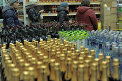 Wine, vodka and champagne in a supermarket Royalty Free Stock Photo