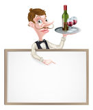 Wine Waiter Sign Royalty Free Stock Images