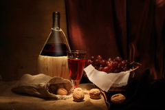Wine and walnuts Royalty Free Stock Photo