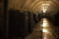Wine warehouse in Abrau Durso.Novorossiysk, Russia. Factory production of wine Abrau Durso. Royalty Free Stock Images