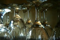Wine and water goblets Royalty Free Stock Image