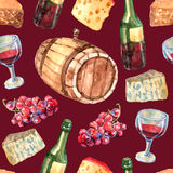 Wine Watercolor Seamless Pattern Royalty Free Stock Images