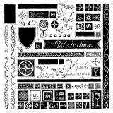 Wine web elements. Typography and icons black on white background Stock Photo