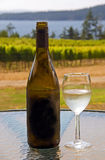 Wine at a west coast vineyard. A bottle of wine with a glass in a west coast vineyard Stock Photo