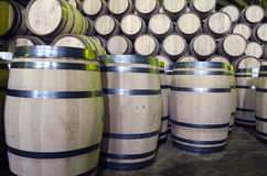 Wine or whiskey barrels Stock Images