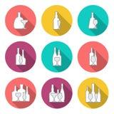 Wine and whiskey bottle circular flat icon  on white Royalty Free Stock Image