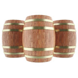 Wine, whiskey, rum, beer barrels. Isolated on a white background. 3d illustration high resolution Stock Photos