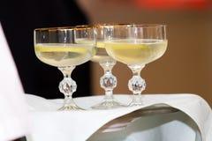 Wine white alcohol glass three Stock Photo