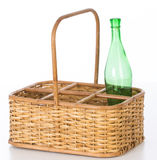 Wine wicker basket Stock Photo