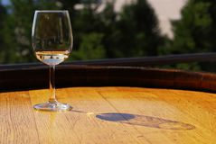 Wine Wine. Glass of white wine on a wooden barrel Stock Photo