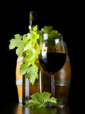 Wine and wine-bearing grape leaves. stock image