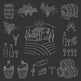 Wine and wine making set vector illustration Royalty Free Stock Photography
